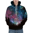 Unique Womens 3D Hoodie Galaxy Forest Print Drawstring Slim Fitted Long Sleeve Hoodie
