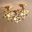 Star/Diamond Kitchen Ceiling Lighting Antique Clear Glass 1 Head Brass Flush Mount Light Fixture