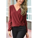 Womens Trendy Surplice V-Neck Long Sleeve Casual Plain Chiffon Blouse Top