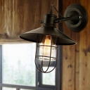 Capsule Cage Kitchen Wall Lamp Rural Iron Single Black Rotating Wall Light Kit with Saucer Shade