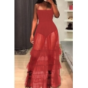 Stylish Women's A-Line Dress Solid Color Mesh Stringy Selvedge Mesh Ruffled Pleated Transparent Square Neck Strap A-Line Dress