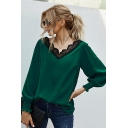 Unique Womens Shirt Stringy Selvedge Lace Patchwork Loose Fitted V Neck Long Sleeve Pullover Shirt
