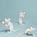 Rat Shaped Table Lighting Creative Nordic Resin 1-Light Living Room Night Lamp in White