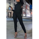 Novelty Womens Jumpsuit Solid Color Cut-out Zipper Back Mock Neck Skinny Fitted Long Sleeve Jumpsuit