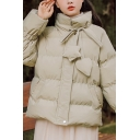 Trendy Womens Down Coat Solid Color Quilted Ruched Long Sleeves Drawstring Star Sweetheart Detail Zip Fly Stand Collar Regular Fitted Down Coat