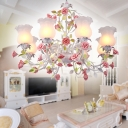 6/8 Heads White Glass Pendant Lamp Pastoral Style Pink Flower Living Room Hanging Chandelier