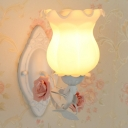 1-Light Bud Shaped Wall Lighting Pastoral Pink/Blue/Green Opaline Frosted Glass Wall Lamp Fixture
