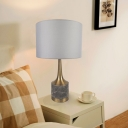 Single-Bulb Bedroom Table Lighting Modern Gold Night Lamp with Cylindrical Fabric Shade