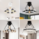 Nordic 3/6 Heads Semi Flush Mount Lamp White Diamond/Cone/Ball 4-Blade Hanging Fan Lighting with Metal Shade, 48