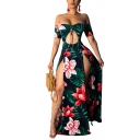 Womens Dress Fashionable Leaf Flower Print Double High Slit Cut-out Front Short Sleeve Maxi Slim Fitted off Shoulder A-Line Swing Dress