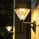 Black Cone Lantern Sconce Minimalist Acrylic Entry Gate Solar LED Wall Mount Lamp