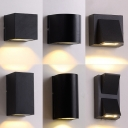 1/2-Bulb Porch LED Wall Lamp Simple Black Wall Washer Sconce with Cylinder/Cube/Cuboid Metal Shade