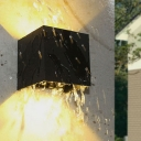Cube/Tube/Triangle Metal Wall Sconce Light Minimalism Black LED Flush Mount Wall Light for Balcony