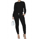 Vintage Womens Co-ords Plain Slim Fitted Pants Crew Neck Long Sleeve Tee Lounge Co-ords