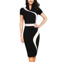 Women's Optical Illusion Color Block Contrast Slim Work Pencil Dress