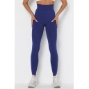 Sporty Womens Yoga Leggings Solid Color Contrast Stitching Elasticity Ribbed High Waist Ankle Length Skinny Leggings