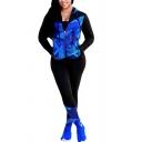 Basic Womens Co-ords Geometric Stripe Splash Pattern Slim Fitted Long Pants Zipper down Long Sleeve Hooded Jacket Sport Co-ords