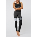 Fancy Womens Set Stripe Pattern Contrast Panel Scoop Neck Sleeveless Slim Fitted Cropped Tank Top with High Waist Seamless Long Pants Co-ords