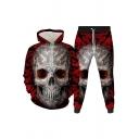Vintage Mens 3D Co-ords Skull Head Dragon Splash Lightning Pattern Long Sleeve Hooded Sweatshirt Ankle Length Tapered Pants Slim Fit Jogger Co-ords