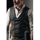 Novelty Mens Vest Pocket Flap Design Contrast Trim Double Breasted Sleeveless Regular Fitted Lapel Collar Vest