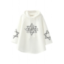 Womens Hooded Sweatshirt Unique Hexagram Unicorn Japanese Letter Pattern Drawstring Long Sleeve Relaxed Fitted Cape Hoodie