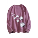 Mens Sweatshirt Chic Cotton Pattern Long Sleeve Relaxed Fit Crew Neck Pullover Sweatshirt