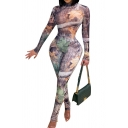New Trendy High Neck Long Sleeves High Waist Slim Fitted Jumpsuit for Women