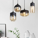 Canning Jar Open Kitchen Ceiling Pendant Clear Glass 1 Light Modern Suspended Lighting Fixture in Black