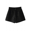 Womens Shorts Fashionable Sequin Decoration Two-Button Detail A-Line Regular Fitted High Waist Relaxed Shorts