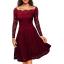 Novelty Womens Dress Lace Scalloped off Shoulder Long Sleeve Slim Fitted Knee Length A-Line Dress