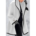 Vintage Womens Coat Contrast Trim Double-Sided Woolen One-Button Placket Lapel Collar Mid-Length Regular Fit Long Sleeve Coat