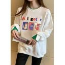 Novelty Womens Sweatshirt Cartoon Letter Print Contrast Trim Faux Twinset Thickened Loose Fit Long Sleeve Crew Neck Pullover Sweatshirt