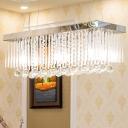 Rectangle Dining Room Island Lamp Modernist Crystal 6 Lights Chrome Hanging Light Fixture