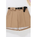 Womens Shorts Trendy Plain Pockets Invisible Zipper Detail Wide Leg High Waist Regular Fitted Tailored Shorts with Belt
