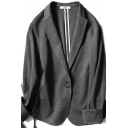 Stylish Women's Suit Jacket Solid Color Single-Breasted Long-sleeved Regular Fitted Jacket