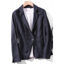 Casual Women's Suit Jacket Solid Color Button Fly Notched Collar Long Sleeves Regular Fit Suit Jacket