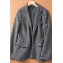 Elegant Women's Jacket Horizontal Pinstripe Pattern Flap Pockets Notched Collar Long Sleeves Regular Fitted Suit Jacket