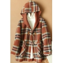 Womens Coat Chic Contrast Plaid Pattern Pockets Toggle-Button Hooded Loose Fit Long Sleeve Wool Coat