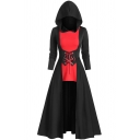 Creative Womens Dress Color Block Lace-up Corset Waist High-Low Long Sleeve Midi A-Line Slim Fitted Hooded Swing Dress