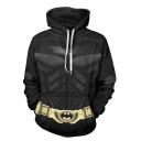 Mens Hoodie Fashionable Anime Batman Belt Pattern Drawstring Long Sleeve Slim Fit Hooded Sweatshirt