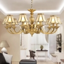 Scalloped Shade Frosted Glass Hanging Light Antique 3/8/10 Bulbs Living Room Chandelier in Brass
