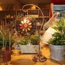 Moroccan Octagon Shade Table Light 1 Head Metal Nightstand Lamp with Gooseneck Arm in Bronze