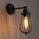 Black Pear Shaped Cage Wall Lighting Factory Metal 1-Light Black Adjustable Wall Mounted Lamp