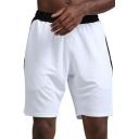 Basic Mens Fitness Shorts Color Block Panel Ventilation Quick Dry Knee-Length Elastic Waist Regular Fitted Sport Shorts