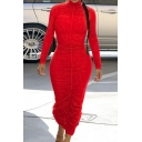 Vintage Womens Dress Plain Ruched Design Sweat-Absorbing Mock Neck Long Sleeve Slim Fitted Maxi Bodycon Dress