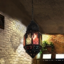1 Head Stained Art Glass Pendulum Light Moroccan Black Lantern Dining Room Hanging Lamp