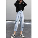 Stylish Womens Co-ords Round Neck Long Sleeves Relaxed Fitted Tee Top with Distressed Hollow out Jeans with Washing Effect Set