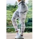 Leisure Women's Yoga Leggings All over Marble Print Contrast Stripe High Waist Full Length Skinny Fitness Pants