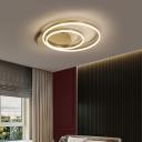 Circular Bedroom Ceiling Flush Light Acrylic 2-Light Minimalist Small/Medium/Large LED Flushmount in Gold/Coffee