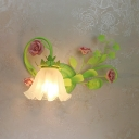 Green Single-Bulb Wall Light Pastoral Style Floral Frosted Glass Left/Right Wall Sconce with/without Pull Chain